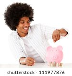Black man saving money - isolated over a white background - stock photo