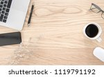 flat lay  top view office table ... | Shutterstock . vector #1119791192