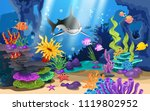 beautiful coral reefs and fish... | Shutterstock .eps vector #1119802952