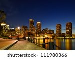 Stock photo boston harbor walk and financial district at twilight 111980366