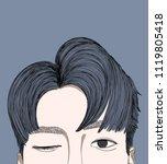 doodle handsome guy drawing... | Shutterstock .eps vector #1119805418