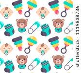 baby shower seamless pattern.... | Shutterstock .eps vector #1119838736