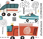 seamless pattern with cute cars ... | Shutterstock .eps vector #1119843248