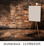 wooden easel with mock up empty ... | Shutterstock . vector #1119863105