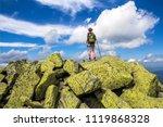 slim athletic blond tourist... | Shutterstock . vector #1119868328