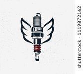 spark plug with wings. vintage... | Shutterstock .eps vector #1119872162