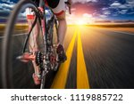 cyclist on bike path  view from ... | Shutterstock . vector #1119885722