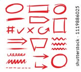 red hand drawn marker elements  ... | Shutterstock .eps vector #1119886025