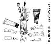 a set of art materials. a... | Shutterstock .eps vector #1119892325