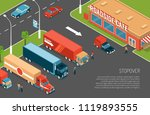 delivery trucks stopover on... | Shutterstock .eps vector #1119893555