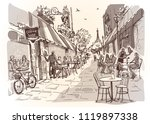street cafe in the city.... | Shutterstock .eps vector #1119897338