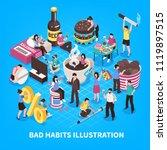 harmful habits including abuse...   Shutterstock .eps vector #1119897515