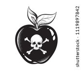poison apple line art and dot... | Shutterstock .eps vector #1119897842