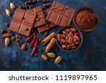 chocolate and cocoa on blue...   Shutterstock . vector #1119897965