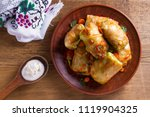 cabbage rolls with meat  rice... | Shutterstock . vector #1119904325