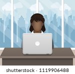 black business woman working on ... | Shutterstock .eps vector #1119906488