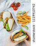 delicious homemade meals  ...   Shutterstock . vector #1119913742