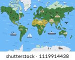stylized world map with tourist ... | Shutterstock .eps vector #1119914438
