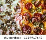 pizza with peperoni  cheese ... | Shutterstock . vector #1119917642