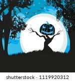 pumpkin scarecrow at night | Shutterstock . vector #1119920312