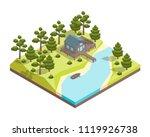 house forest lake concept 3d... | Shutterstock .eps vector #1119926738