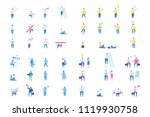 young men characters set.  flat ... | Shutterstock .eps vector #1119930758