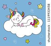 unicorn sleeping on top of a...   Shutterstock .eps vector #1119933458