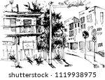 vector urban landscapes in hand ... | Shutterstock .eps vector #1119938975