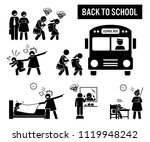 back to school. stick figure... | Shutterstock .eps vector #1119948242