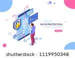 data protection concept. credit ... | Shutterstock .eps vector #1119950348