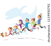 three generation family running ... | Shutterstock .eps vector #1119950792