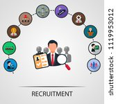 recruitment flat icons concept. ... | Shutterstock .eps vector #1119953012