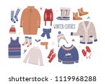 collection of winter clothes... | Shutterstock . vector #1119968288