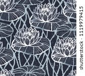 ink hand drawn lotus pattern... | Shutterstock .eps vector #1119979415