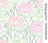 ink hand drawn lotus pattern... | Shutterstock .eps vector #1119979418