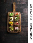 set of different mini canapes... | Shutterstock . vector #1119981125