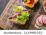 set of different mini canapes... | Shutterstock . vector #1119981152