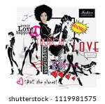 fashion collage with freehand... | Shutterstock .eps vector #1119981575