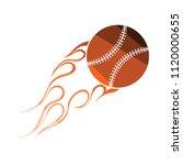 baseball fire ball icon. flat...
