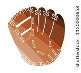 baseball glove icon. flat color ...