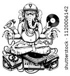 ganesha dj sitting on... | Shutterstock .eps vector #1120006142