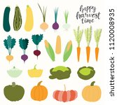 big autumn harvest set with... | Shutterstock .eps vector #1120008935