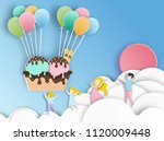 ice cream with balloon  paper... | Shutterstock .eps vector #1120009448