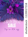 summer sale banner with purple... | Shutterstock .eps vector #1120017218