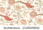 peonies and pheasants. floral... | Shutterstock .eps vector #1120020032