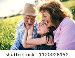senior couple with... | Shutterstock . vector #1120028192