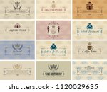 vector set of business cards on ... | Shutterstock .eps vector #1120029635