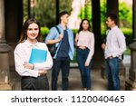 beautiful young college student ... | Shutterstock . vector #1120040465
