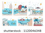 bundle of summer sceneries with ... | Shutterstock .eps vector #1120046348