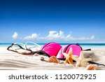 summer photo of shells on sand... | Shutterstock . vector #1120072925